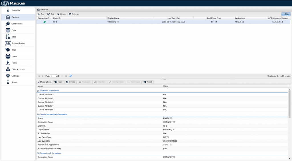 Screenshot Device Management in Kapua